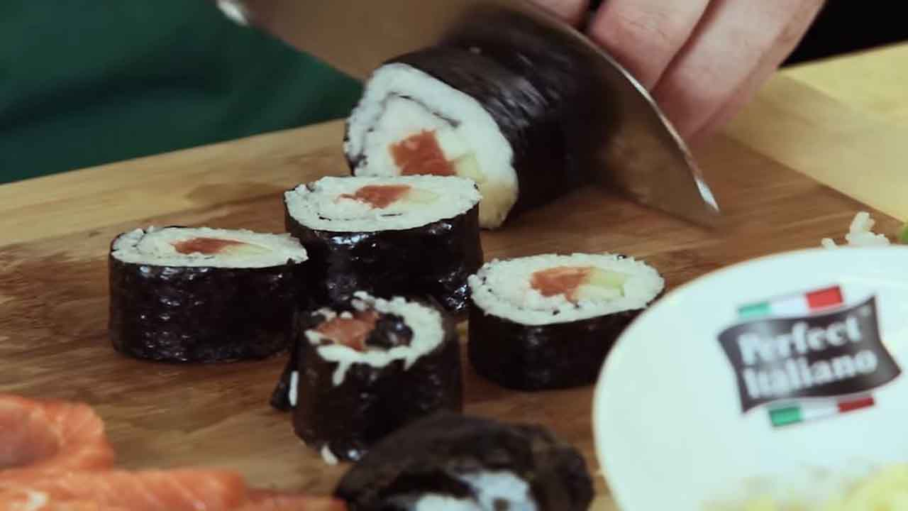 Rice Roll with Mozzarella Cheese and Salmon