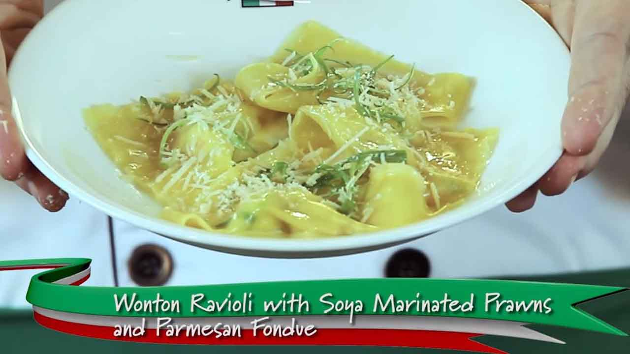 Wonton Ravioli with Soya Marinated Prawns and Parmesan Fondue