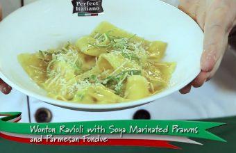 Cooking Demo: Wonton Ravioli with Soya Marinated Prawns and Parmesan Fondue